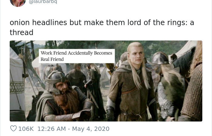 Woman Combined The Lord Of The Rings With The Onion News And The Results Are Hilarious 20+ Tweets